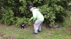 Jyri yrittää silittää kissaa.